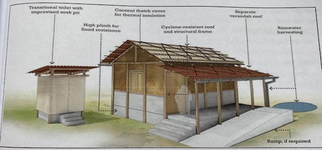 35 Häuschen nach Tropensturm Fani, Indien